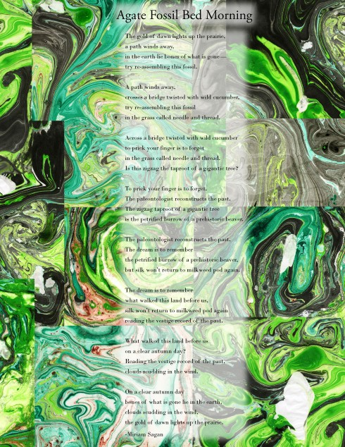 a broadside, on collaged green suminagashi, a poem by Miriam Sagan